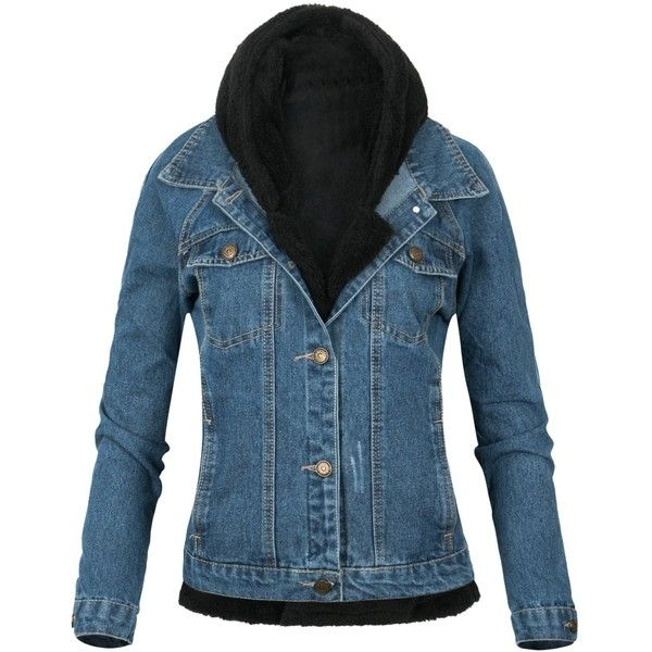 Howels Washed Casual Denim Jacket With Black Faux Fur Hoodie Jacket ($52) ❤ liked on Polyvore featuring outerwear, jackets, faux fur jackets, jean jacket, denim jacket, faux fur denim jacket and fake fur jacket