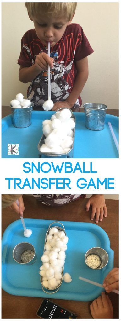 Snowball Kindergarten Games - this is a fun winter game and to help kids practice oral motor exercises (toddler, preschool too)