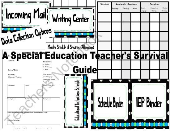 Perfect for the beginning special education teacher or just getting organized {Special Education Organizational Materials}   Contents:   Graphic Organizers for Program Design   Data Sheet for Student Information   Tons of Cover Sheets for Your Binders and Folders   Materials for... Schedule Binder, Cover Sheets and Page Dividers  Blank Scedule...and much more!