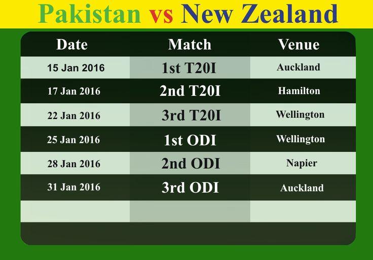 Pakistan vs New Zealand 2016 Series