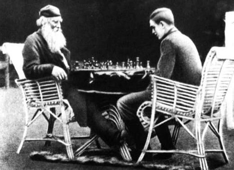 Tolstoy playing chess