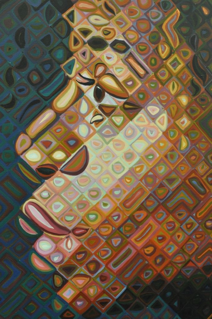 By Chuck Close - I really like the way every square have different colours but have the same colour schemes to make a face.