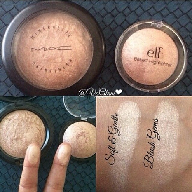 "DUPE ALERT!! Very affordable dupe for M∙A∙C Cosmetics ""Soft and Gentle"" is Elf Cosmetics baked highlighter in ""blush gems""!!!"