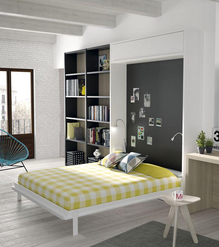 Cama abatible vertical en un loft funcional decoraci n - Fabricar cama abatible ...