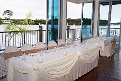 Gorgeous Noosa river wedding reception setup at the River Deck Restaurant.