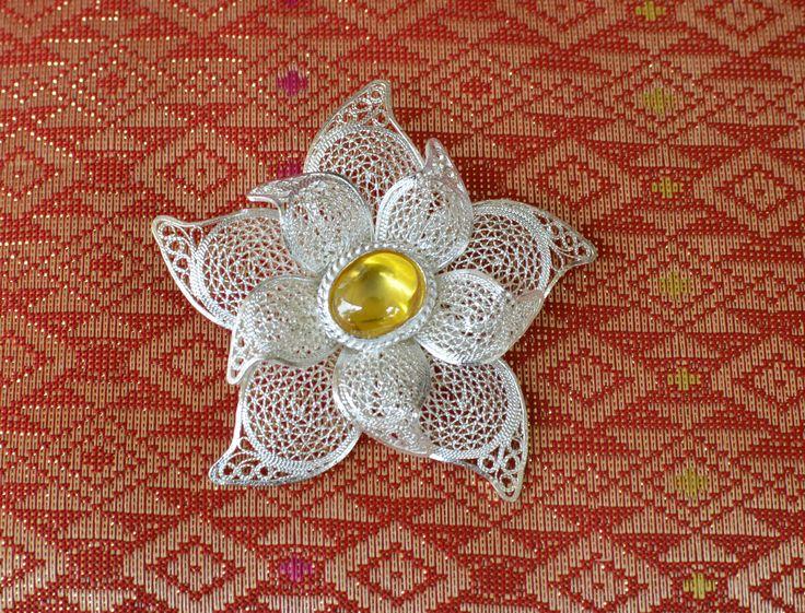 Csillag alakú bross citrin kővel