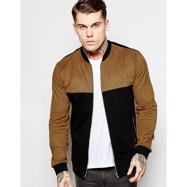 ASOS Jersey Bomber Jacket With Faux Suede Panel (6470 RSD) ❤ liked on Polyvore featuring men's fashion, men's clothing, men's outerwear, men's jackets and black