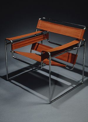 Marcel Breuer Chair.  Bauhaus. The outline of a traditional club chair. The idea for a tubular steel frame came from the bicycle he rode to work!