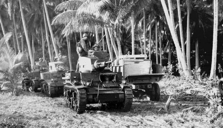 a vintage photo of a palm tree: M2 tank during the Guadalcanal Campaign, 1942.
