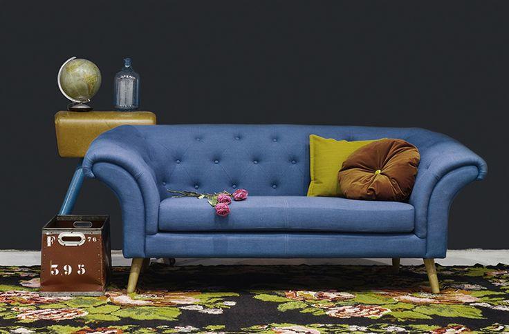 retro bank van scandinavisch design - Kleur blauw - nieuwe zitbank met een vintage look