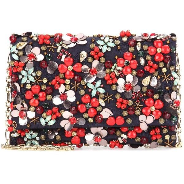 Oscar de la Renta DeDe Embellished Clutch found on Polyvore featuring bags, handbags, clutches, multicoloured, colorful handbags, colorful clutches, multi colored clutches, red clutches and red purse