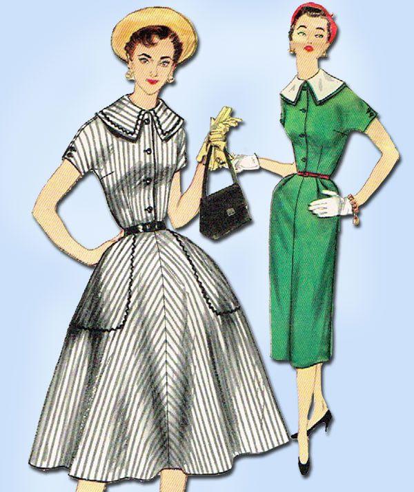 1950s Vintage Misses Dress Uncut 1955 Simplicity VTG Sewing Pattern 1055 Size 12