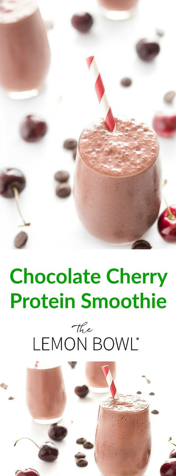 This thick and creamy chocolate cherry breakfast smoothie is packed with over 26 grams of protein per serving!