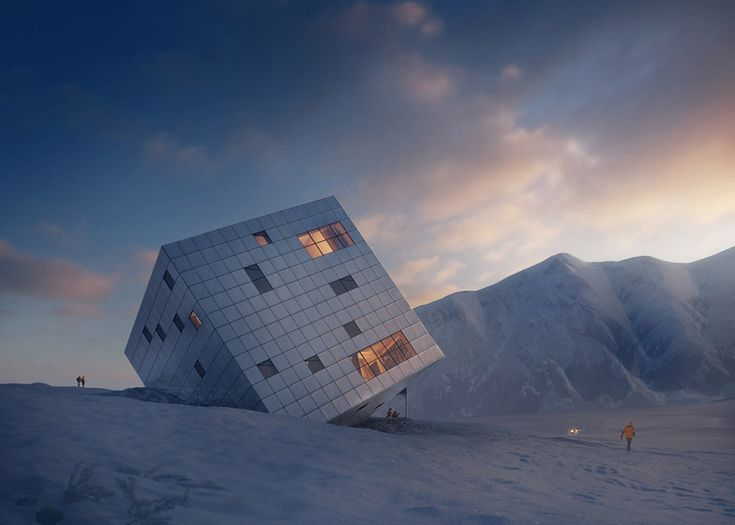 Proposed mountain hostel that looks like it has crashed into the Earth.