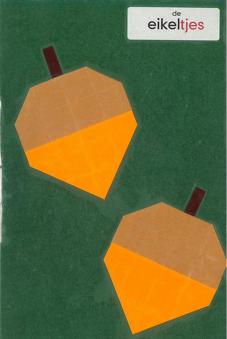 vouwwerkje 16 vierkantjes eikeltjes