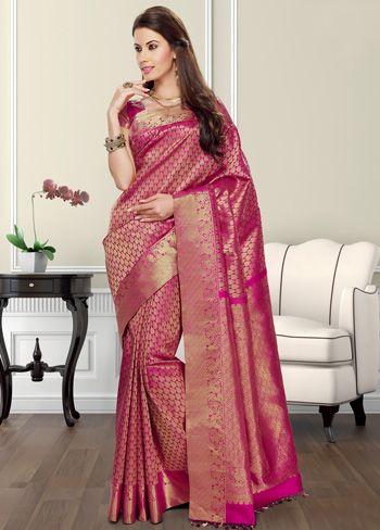 Pink Kanjivaram Saree with Blouse #Kanjivaram #Sarees #IndianShopping