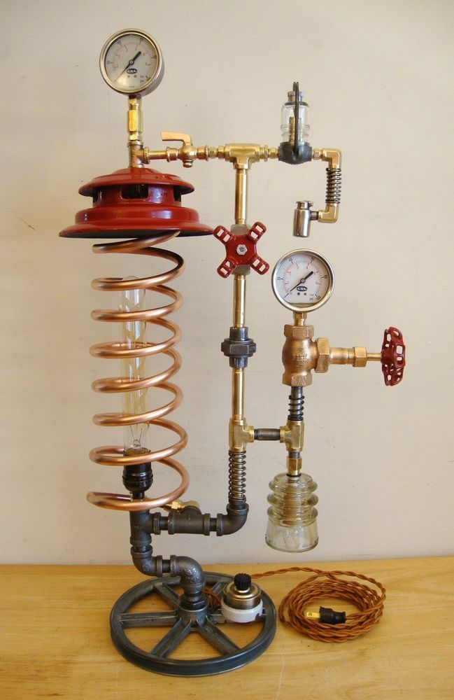 Steampunk/Industrial Lamp, 2 Light, Copper, Porcelain Switch, Brass, Insulator!