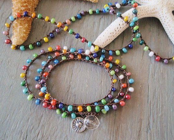 Colorful crochet wrap bracelet necklace anklet 'Summer Sol' sterling silver sun dangle, multi color surfer chic beach boho