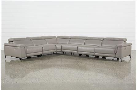 Thatcher Grey 6 Piece Sectional W/Armless Power Recliner - Signature