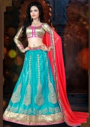 Party Wear Sky Blue Net Embroidered Work Lehenga Choli