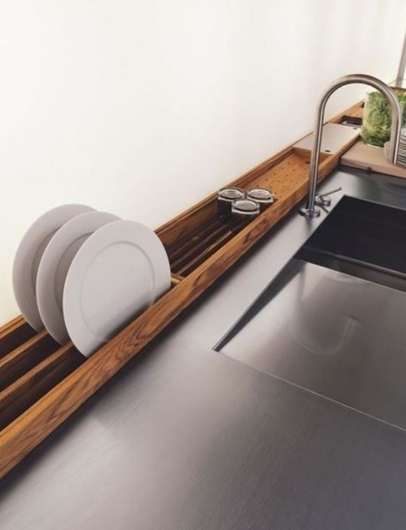 Built In Drying Rack Behind Kitchen Sink