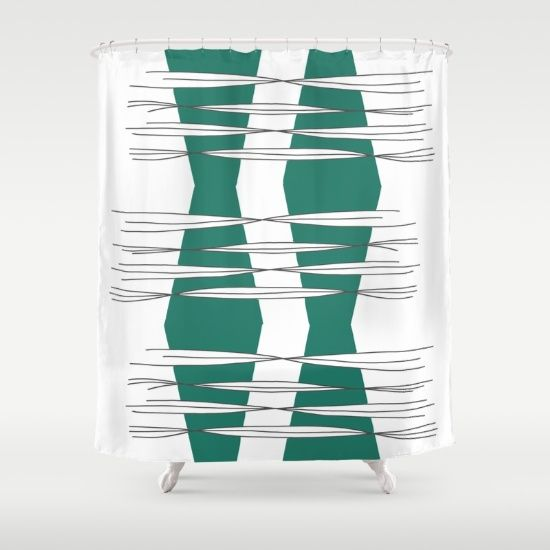 Buy Shower Curtains featuring Intersections  by Mindssgreen. Made from 100% easy care polyester our designer shower curtains are printed in the USA and feature a 12 button-hole top for simple hanging.