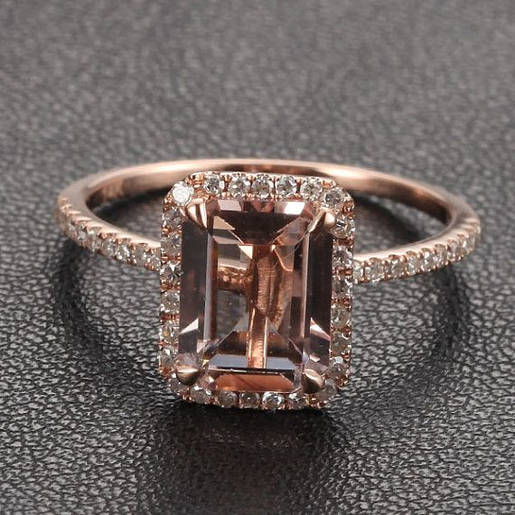 6x8mm Emerald Cut Morganite Engagement Ring Diamond Halo Morganite Ring in 14K Rose Gold/14K White Gold/14K Yellow Gold on Etsy, $360.00