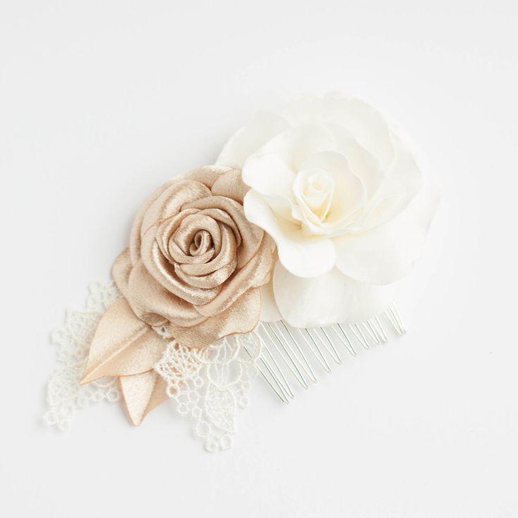 Rose Hair Piece Ivory Gold  Bridal Hair Piece  Bridal by Florentes, $49.00
