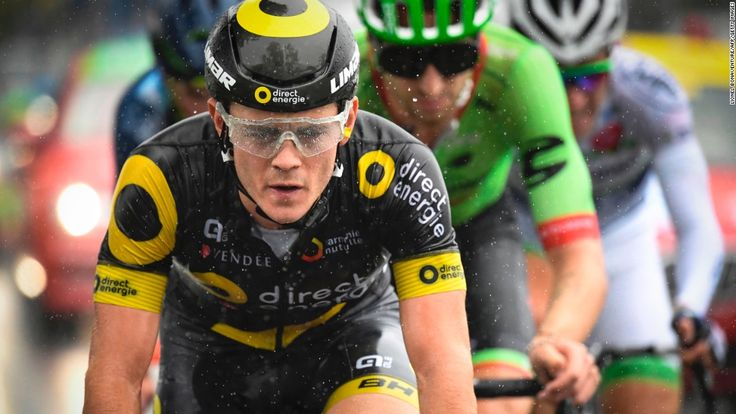 Thomas Boudat rides in the rain in a breakaway during the second stage of the 104th edition of the Tour de France.
