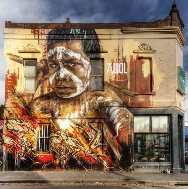Seni Jalanan Lukisan Mural di Kota Melbourne di Australia 3