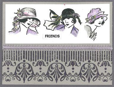 Stamp-it Australia: 4252E Fashion Ladies, 4206E Art Pattern, siset032 Friends - Card by Susan