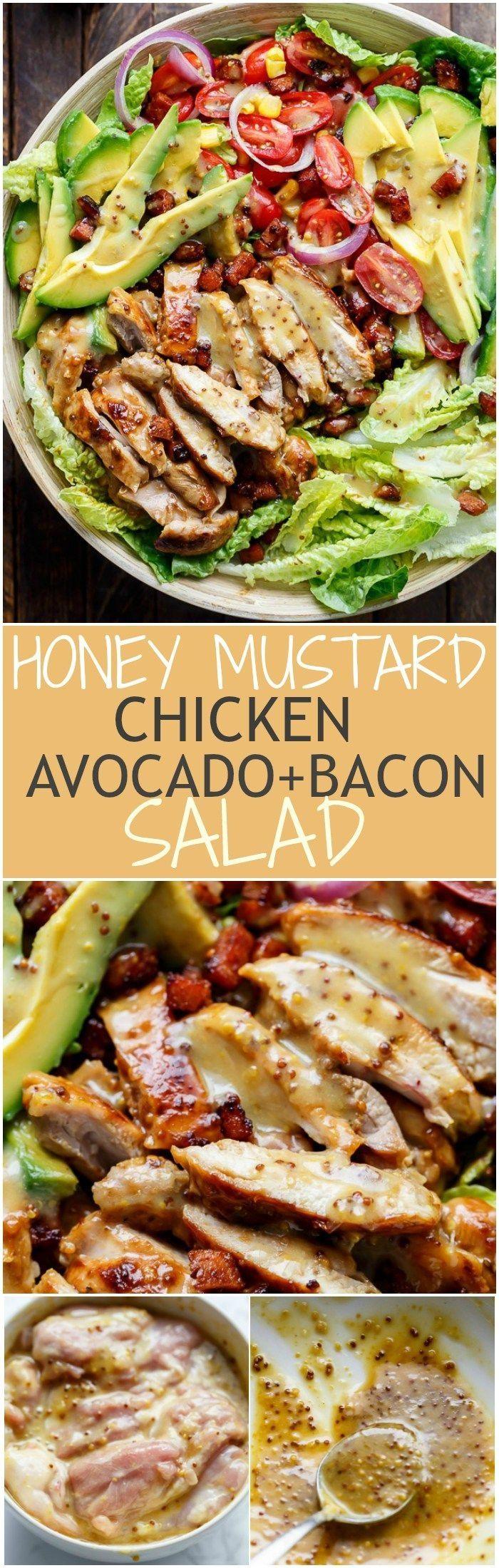 cool Honey Mustard Chicken, Avocado Bacon Salad - Cafe Delites #weightloss