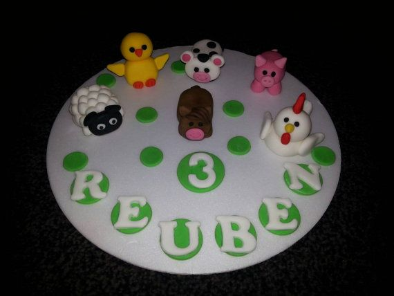 Cute animal birthday cake topper Check out this item in my Etsy shop https://www.etsy.com/listing/204085127/edible-farm-animals-birthday-cake-topper
