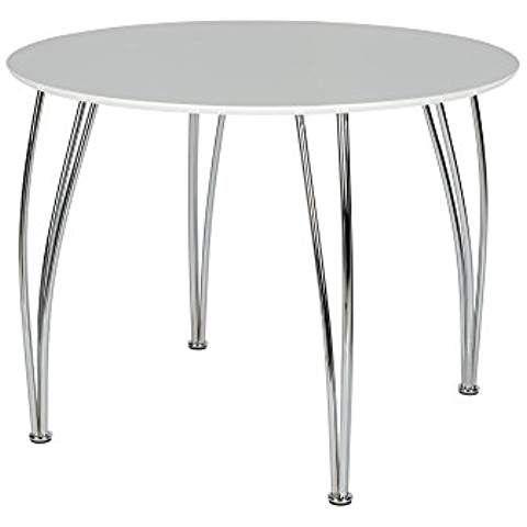 Novogratz Round Dining Table With Chrome Plated Legs White