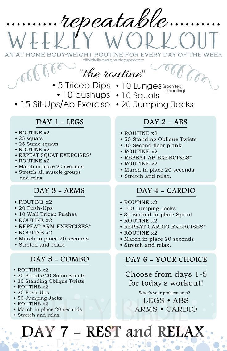 Best week workout plan ideas on pinterest home