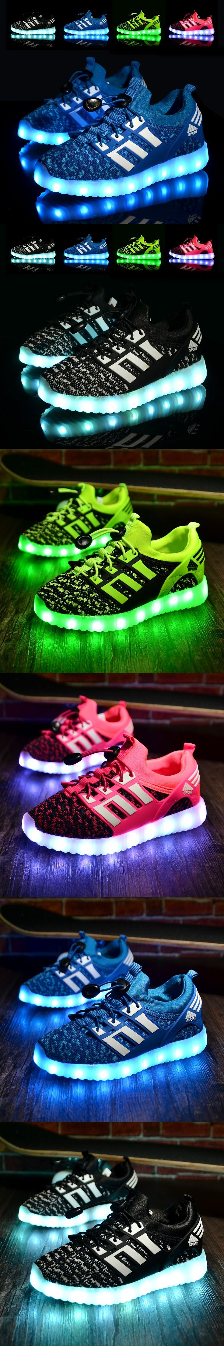 New 2016 Rechargable Kids Shoes with USB Sneakers Children Light UP LED  Shoes Boys \u0026 Girls