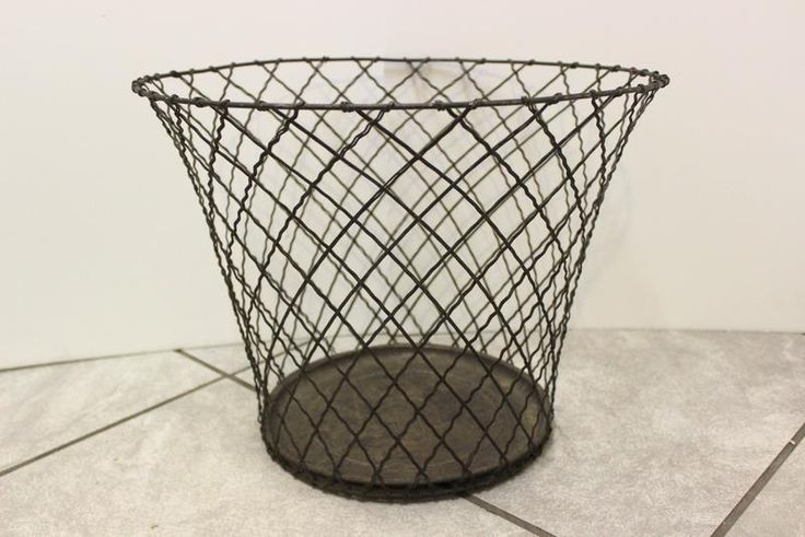 vintage industrial age ANDROCK WIRE WASTE BASKET Trash Bin Can Wastebasket #Androck