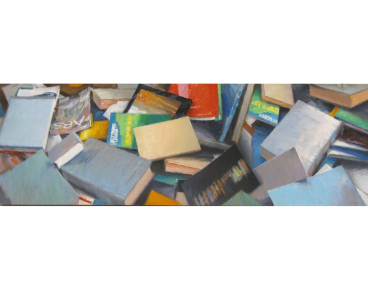 #1523 Libri/books Olio su tela / Oil on canvas 40x120