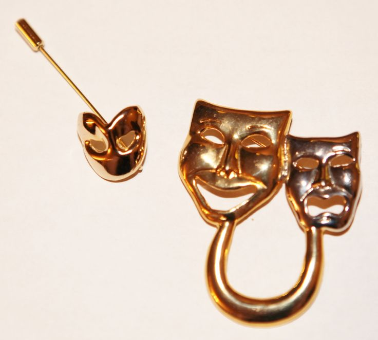 Greek Drama Comedy Tragedy Theater Entertainment Mask Brooch by GenusJewels on Etsy