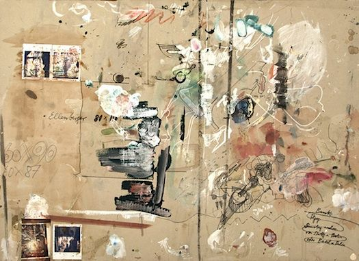 artist Dieter Roth, who covered his work tables with sheets of cardboard, so he could write/draw/collage what he wanted then-and-there; they eventually become artworks.