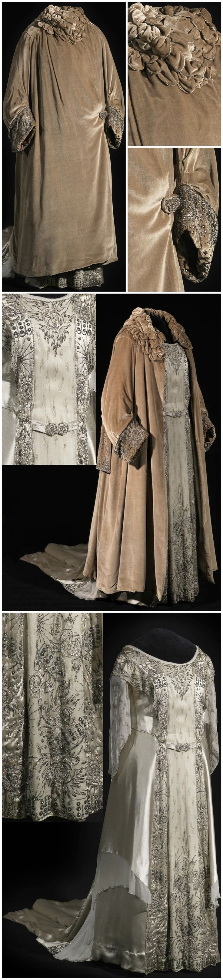 Gala dress and coat, by Premet, c. 1923-29, Het Loo Palace (on loan from the Royal Collections, The Hague). Photos: Stef Verstraaten. Via Modemuze. Worn by Queen Emma of the Netherlands (née Princess of Waldeck and Pyrmont). Dress: silk (crepe, satin, voile), silver wire, rhinestones. Coat: silk (velvet), silver wire, rhinestones, wadding (?).