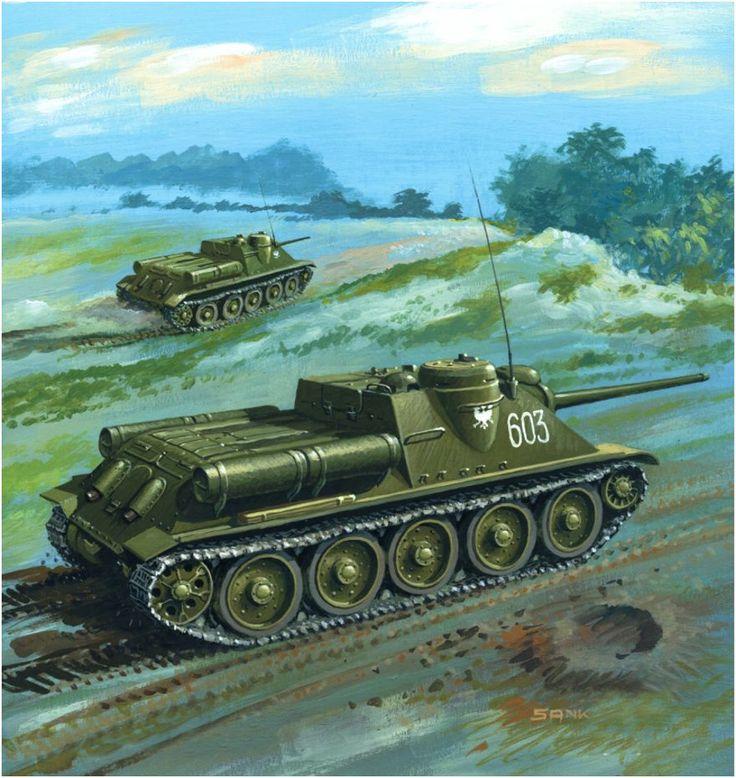 SU-85M «numero tactico 603» cazacarros de una batería del 13.° Regimiento de Artillería autopropulsada, 1. Ejercito polaco, Alemania, abril de 1945. Sanko. http://www.elgrancapitan.org/foro/viewtopic.php?f=12&t=17519&p=900323#p900320