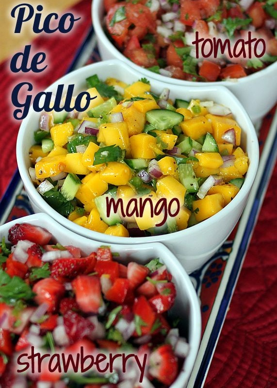Three fresh Pico de Gallo salsas -- Classic Tomato, Mango Cucumber, and Strawberry Red Pepper. Easy, nutritious, and delicious.
