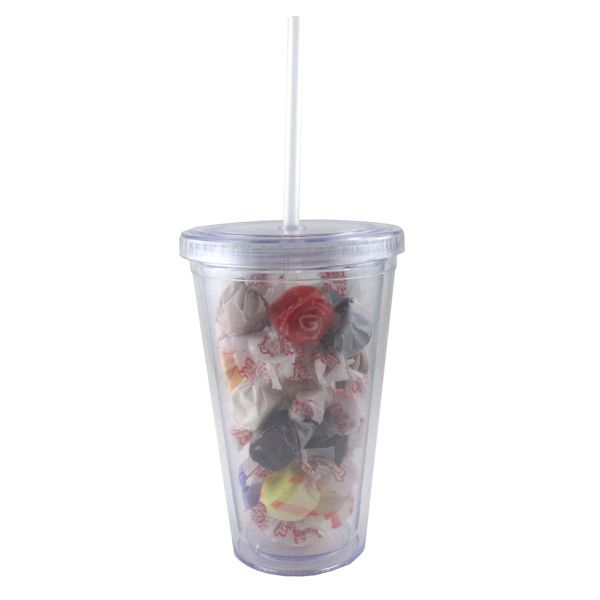This double-wall acrylic tumbler is the perfect giveaway for any event! Filled with salt water taffy, a boardwalk favorite, this cup can be imprinted with your logo or name. When the candies are gone, this drinkware item is sure to be reused again and again. Features include a clear straw that has a stopper to prevent it from falling out. It's BPA free, holds 16 oz. of your favorite drink, and great for both cold and hot beverages. Order now and make a toast to sweet success!