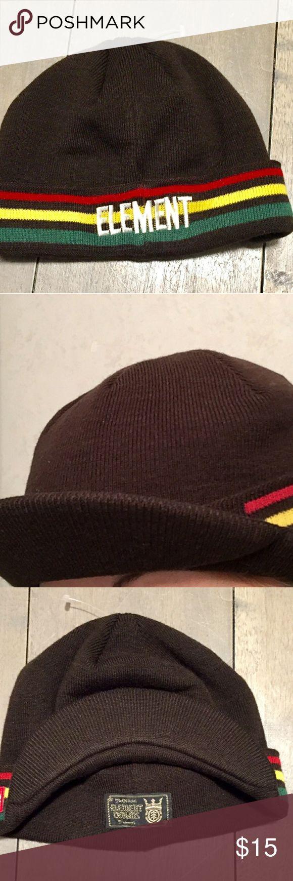 ELEMENT RASTAFARIAN HAT ELEMENT Rastafari style beanie hat. Unisex brown with green, gold, red stripe. Embroidered white element logo on back. Never worn. Hard to find. Element Accessories Hats