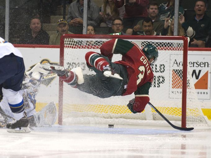 Sept. 25: Wild center Charlie Coyle get airborne as he scores during the third period against the Blues in St. Paul. Coyle's goal helped Minnesota win 3-1.