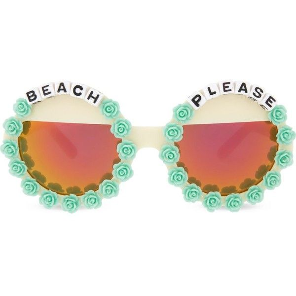 RAD AND REFINED Beach please round-frame sunglasses found on Polyvore featuring accessories, eyewear, sunglasses, multi, round mirror sunglasses, yellow sunglasses, round sunglasses, pink mirrored sunglasses and yellow lens glasses