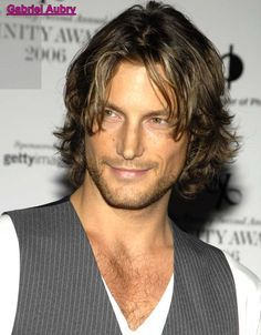 Gabriel Aubry. Not sure about a v-neck with a vest unless you're going for a Richard Grieco look, but he's so pretty you can forgive him any bad clothing.