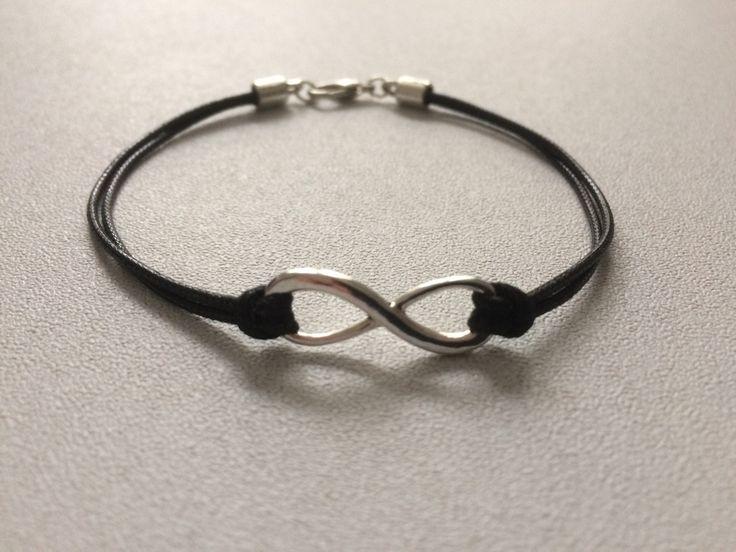 Bracelet homme cordon noir et intercalaire signe infini métal argenté : Bijoux pour hommes par chezchris