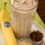 Banana Oatmeal Smoothie Recipe  2   whole Chiquita Bananas (best with brown flecks on peel) 2   cups Ice 1/3   cup Yogurt - preferably Greek yogurt flavored with honey 1/2   cup Cooked oatmeal 1/3   cup Almonds
